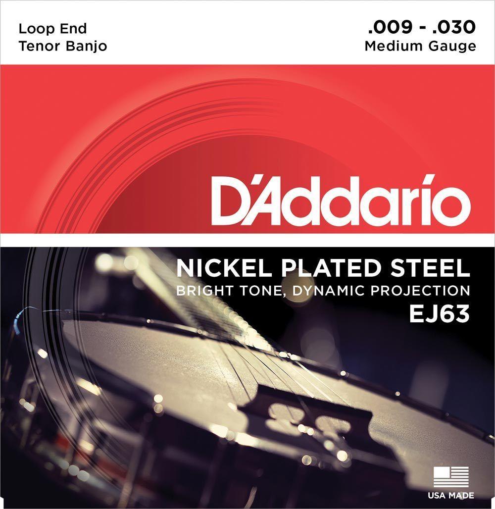 D'Addario Nickel Plated Steel Medium Gauge 9-30 Loop End Tenor Banjo EJ63