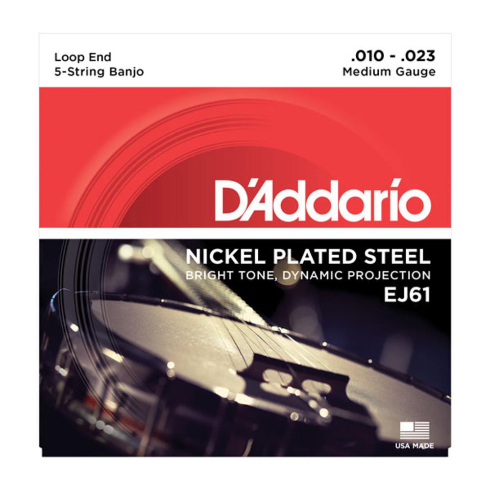 D'Addario Nickel Plated Steel 10-23 Medium Gauge Loop End Banjo Strings EJ61
