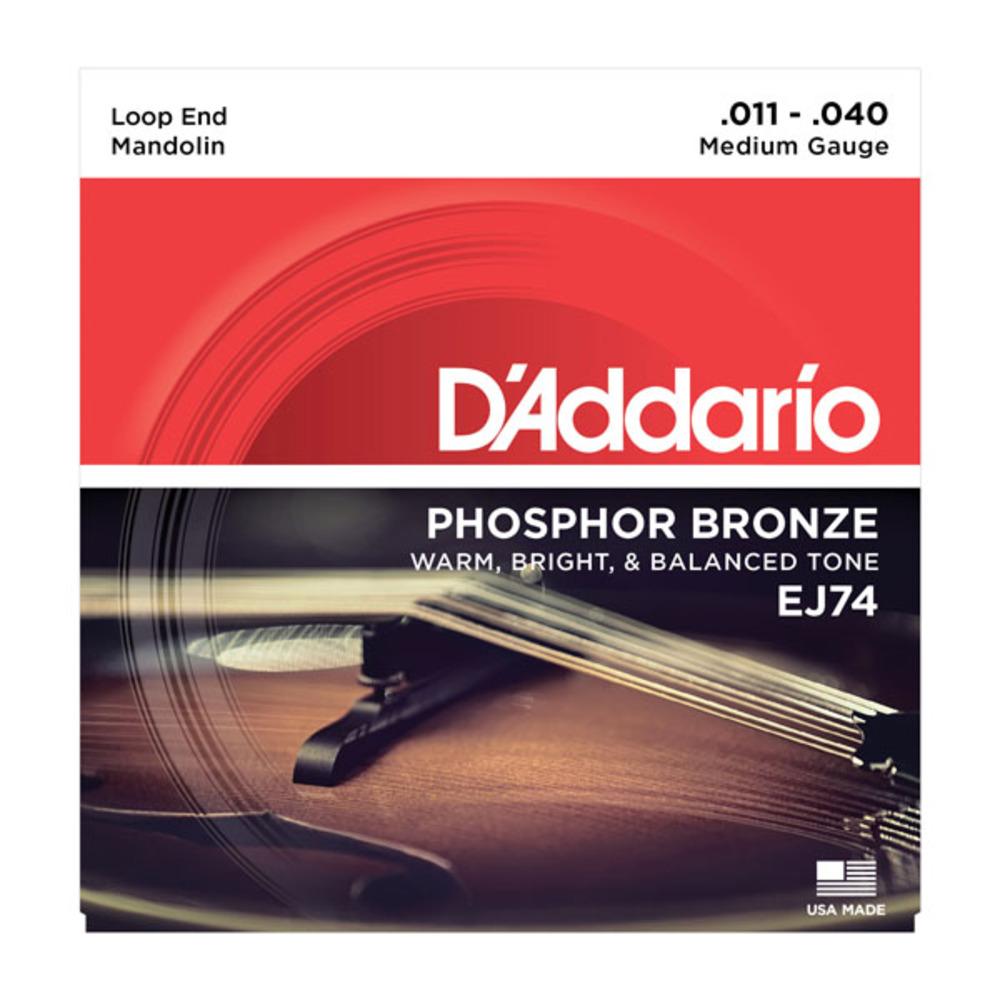 D'Addario Phosphor Bronze Loop End Mandolin Strings 11-40 Medium Gauge EJ74