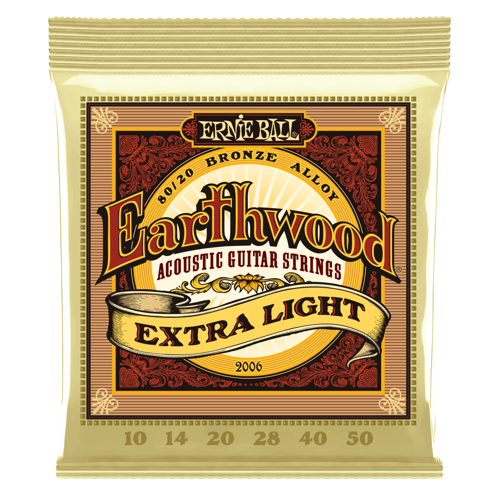 Ernie Ball Earthwood Extra Light Bronze Alloy Acoustic Strings .10 - .50