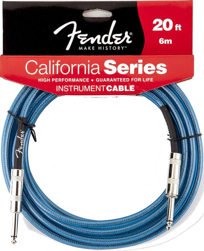 Fender 20ft California Instrument Cable Lake Placid Blue Guitar Lead