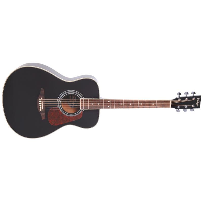 Vintage V300-BK Folk Acoustic Guitar - Black