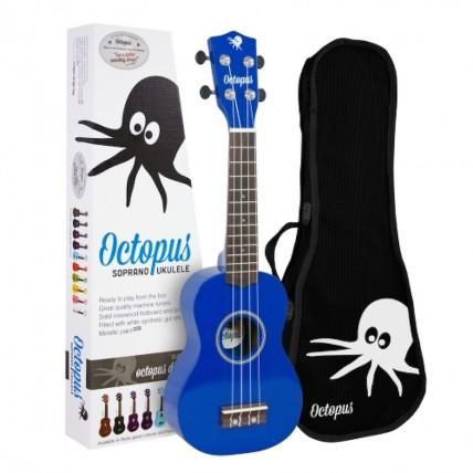 Octopus Soprano Ukulele Outfit, Blue with Gig Bag