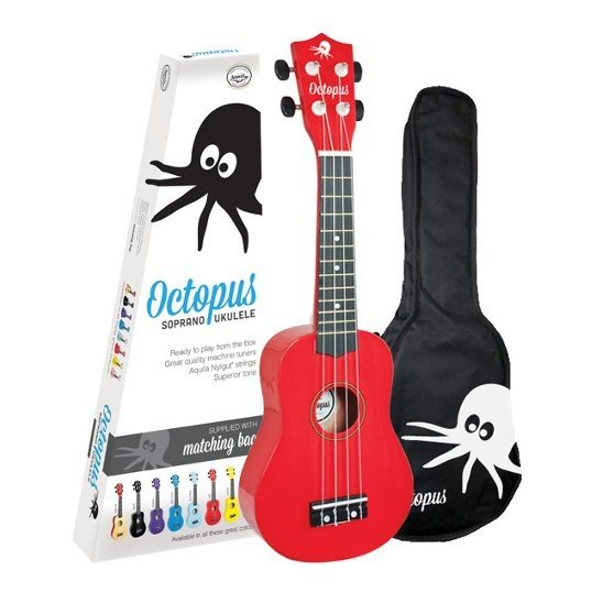 Octopus Soprano Ukulele Outfit, Red with Gig Bag