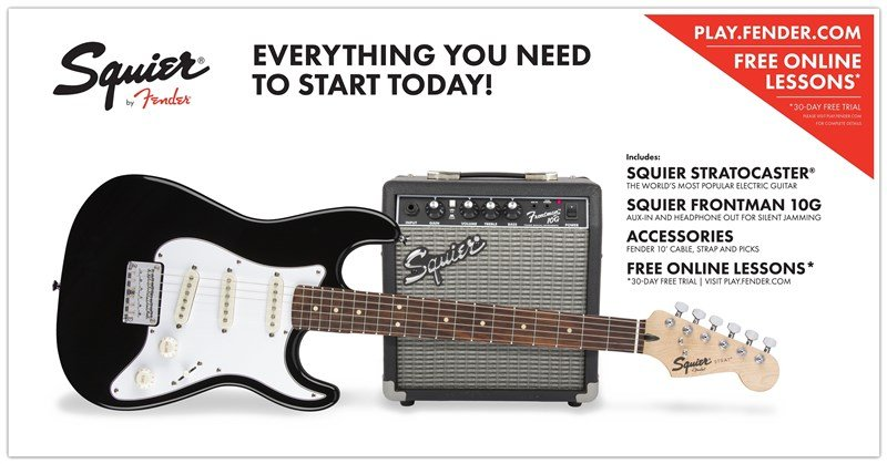 Squier Short-Scale Strat Guitar and Amplifier Pack, Black