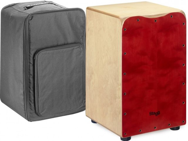 Stagg CAJ-50M RD Cajon Drum With Free Gigbag Red