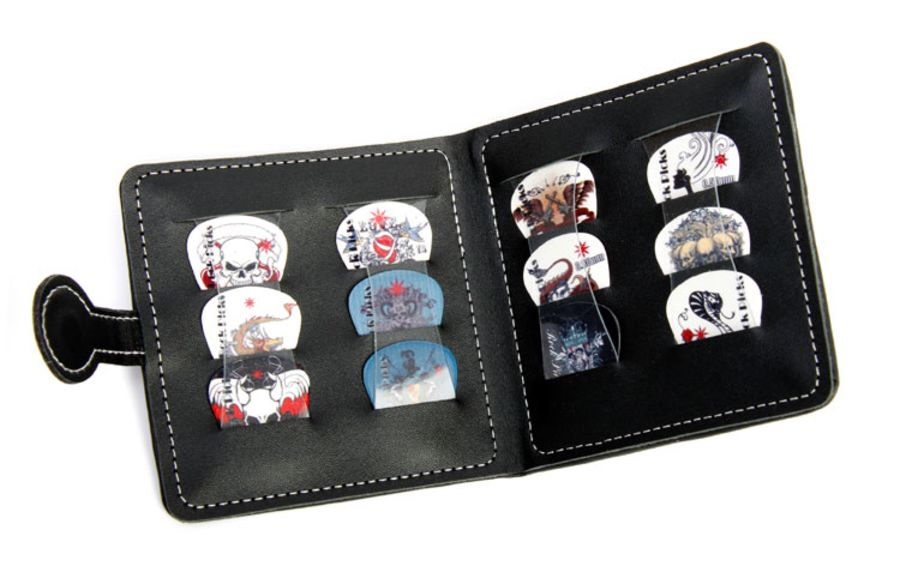 Guitar Pick Wallet + 12 Celluloid Picks/Plectrums