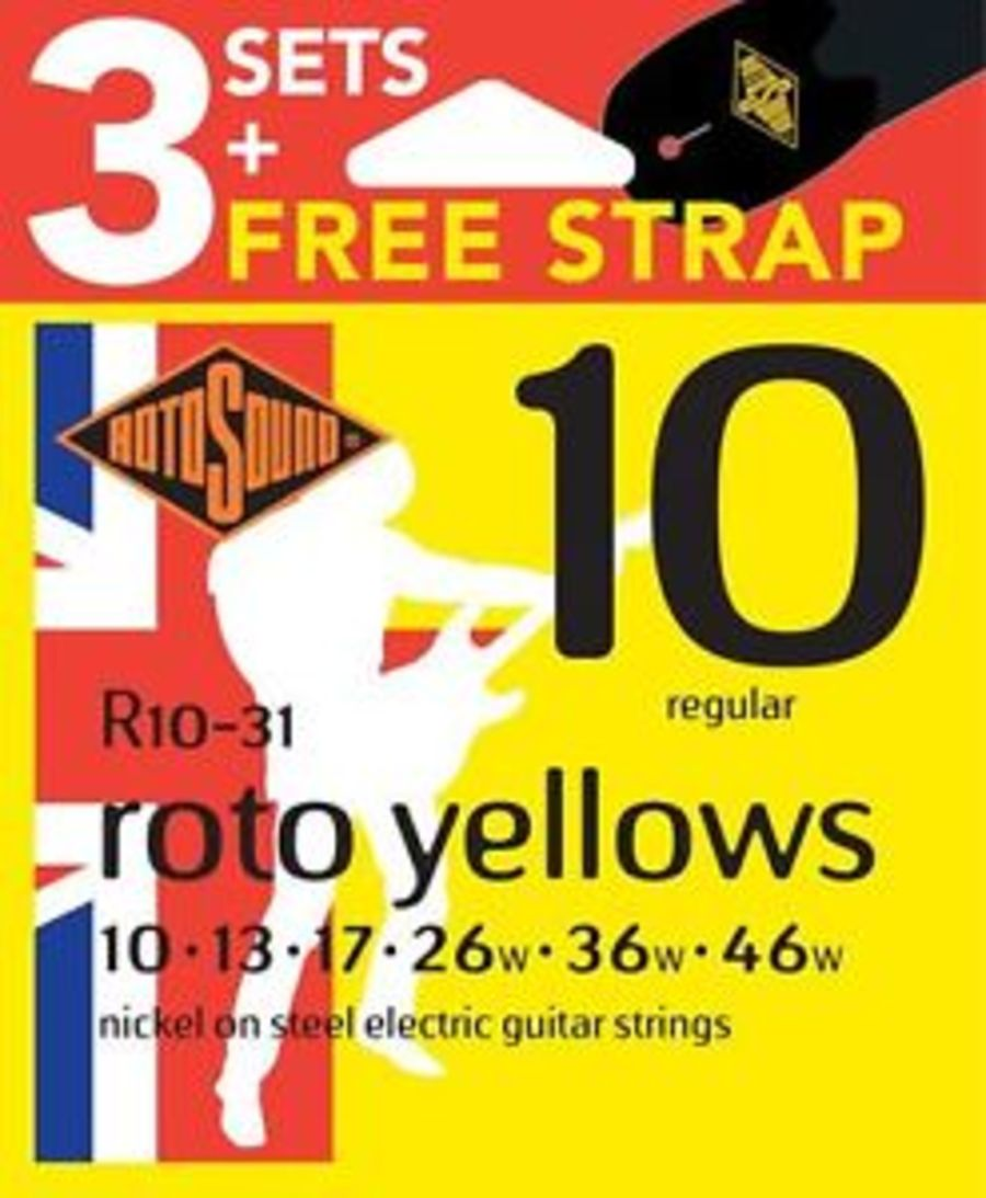 Rotosound R10 Nickel Plated Electric Guitar Strings X 3 Sets & Free Strap, Gauge 10-46