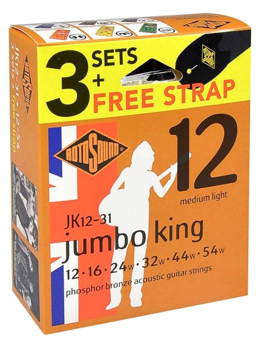Rotosound JK12-31 3 Sets Phosphor Bronze 12-54 Acoustic Guitar Strings + FreenStrap