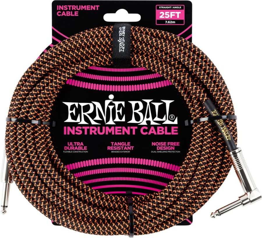 Ernie Ball 6064 Braided Instrument Cable, 25ft/7.6m, Black/Orange
