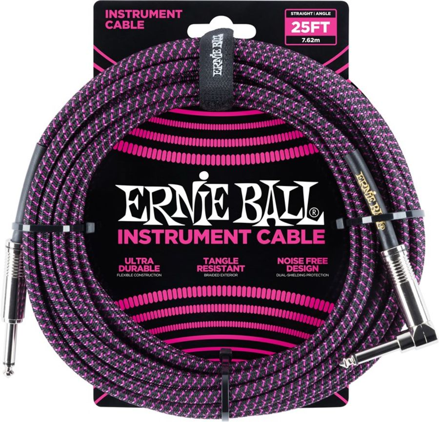 Ernie Ball 6068 Braided Instrument Cable, 25ft/7.6m, Black Purple