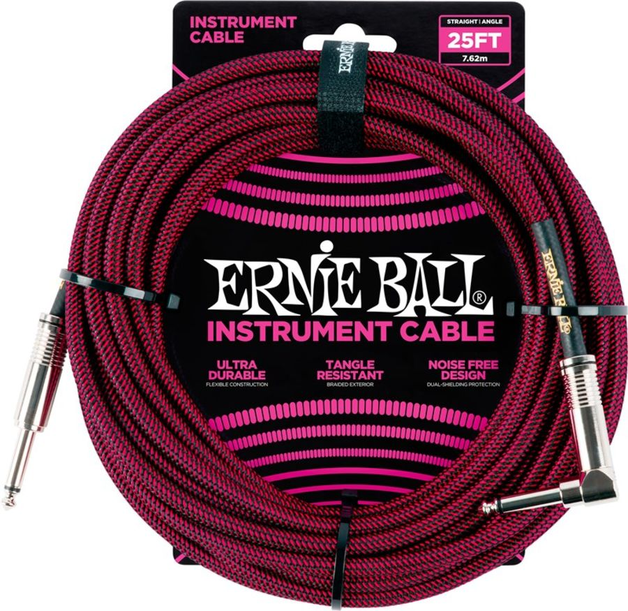 Ernie Ball 6062 Braided Instrument Cable, 25ft/7.6m, Black/Red