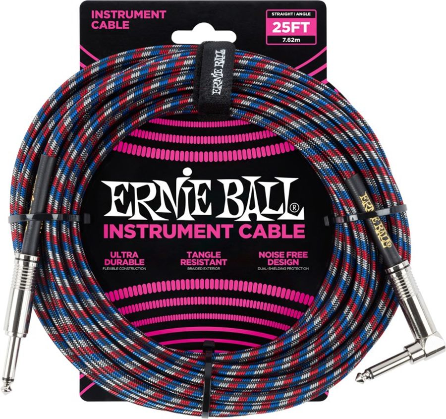 Ernie Ball 6063 Braided Instrument Cable, 25ft/7.6m, Red/Blue/White