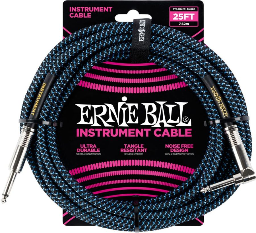Ernie Ball 6060 Braided Instrument Cable, 25ft/7.6m, Black/Blue