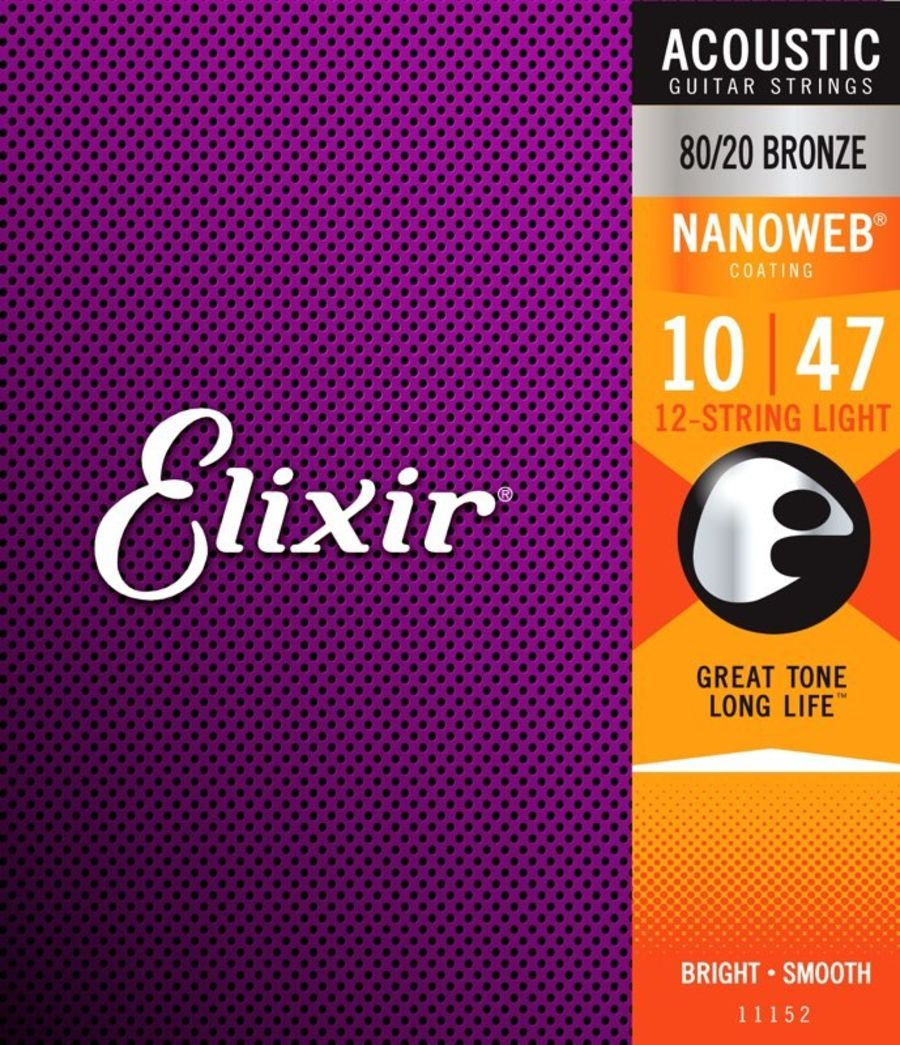 Elixir Nanoweb 10-47 Light 12 String Acoustic Guitar Strings
