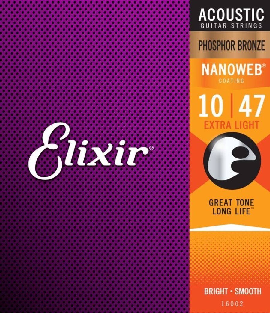 Elixir Phosphor Bronze Nanoweb Extra Light 10-47 Acoustic Guitar Strings_copy