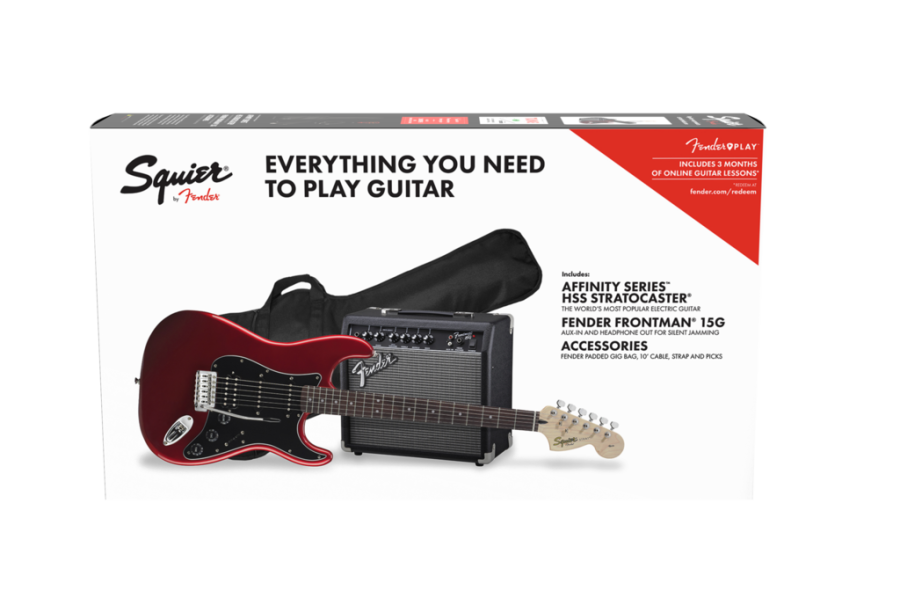 Squier Affinity Stratocaster HSS Electric Guitar Starter Pack, Candy Apple Red