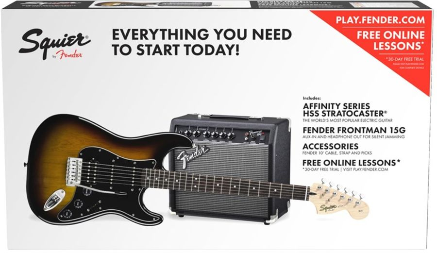 Fender Stratocaster Pack with Frontman 15g Amplifier, Brown Sunburst