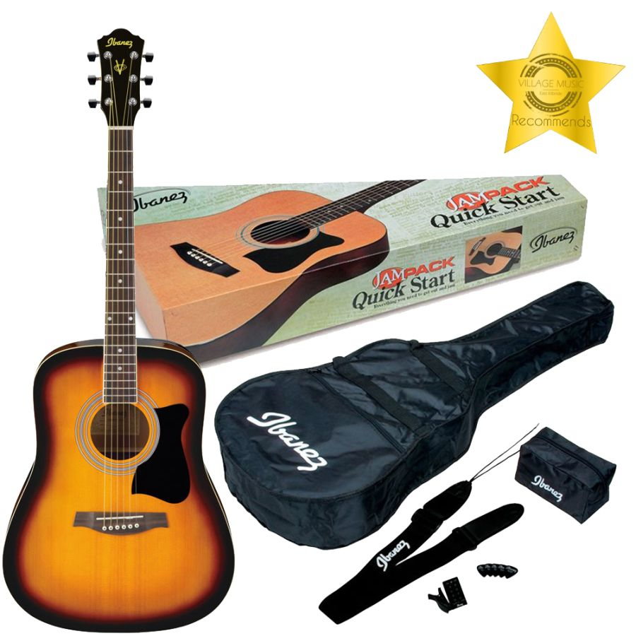 Ibanez V50NJP-VS Acoustic Jampack Starter Package - Vintage Sunburst