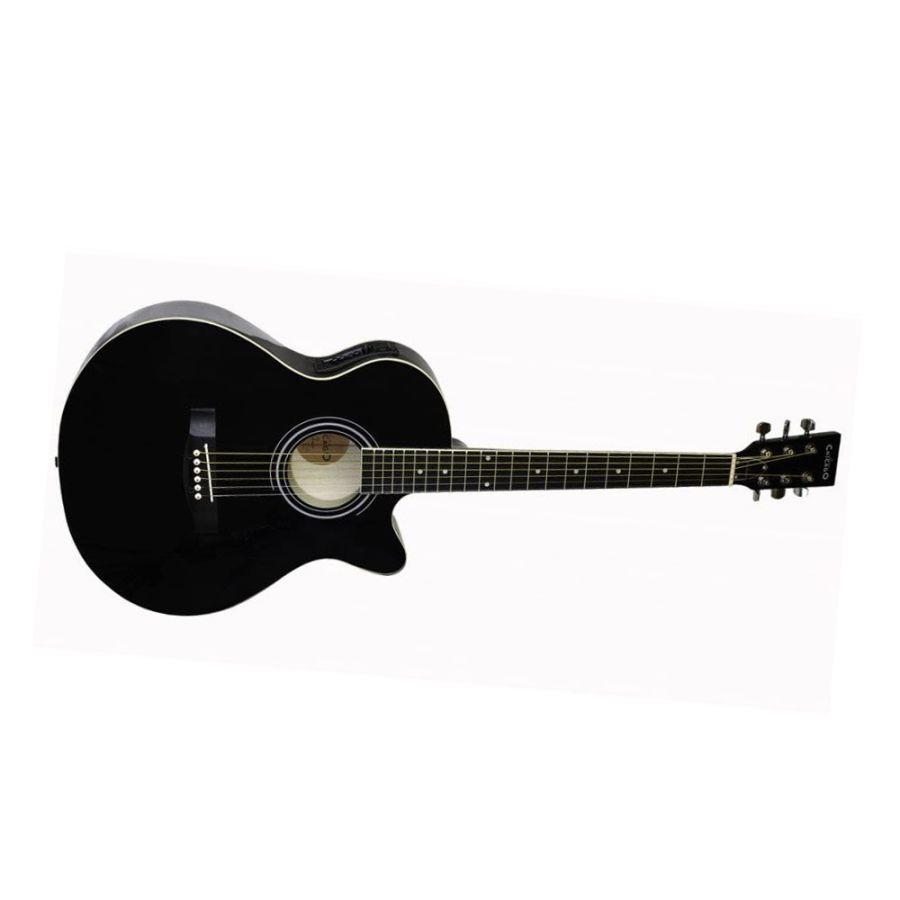 Freshman Chicago CH1FBKCE Electro Acoustic Black with Gig Bag