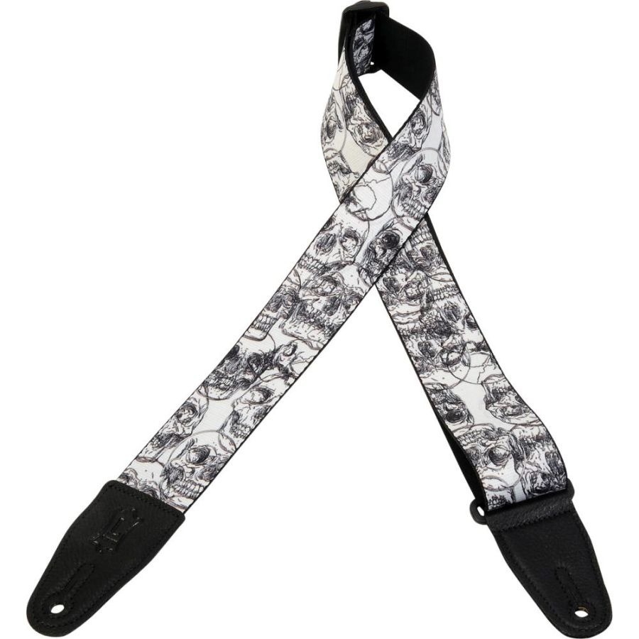 Levy's MPD2-048 Sublimation Black and White Skulls Guitar Strap