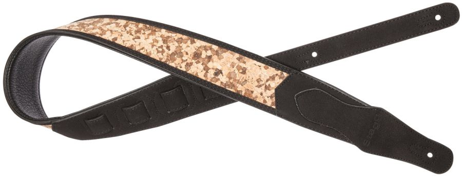 Stagg Black Padded Faux Suede Guitar Strap, Wooden Puzzle Pattern