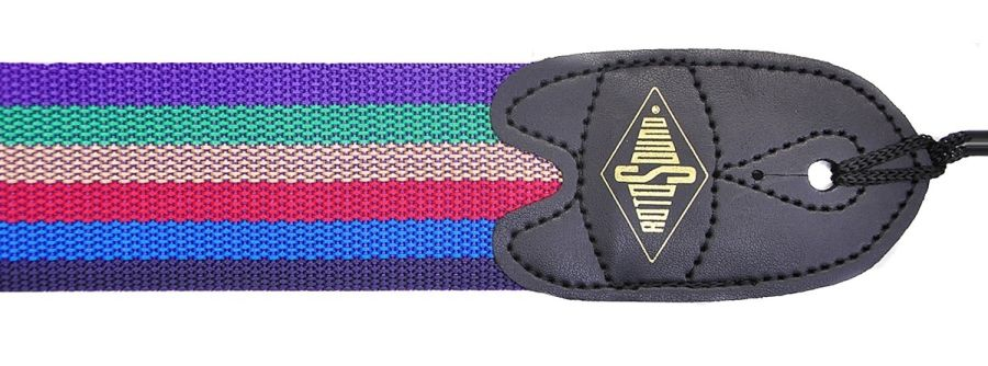 Rotosound STR7 High Quality Webbing Strap, Leather Ends, Rainbow