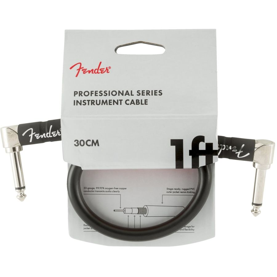 Fender Professional Series Instrument Cable Angle/Angle 1' in Black
