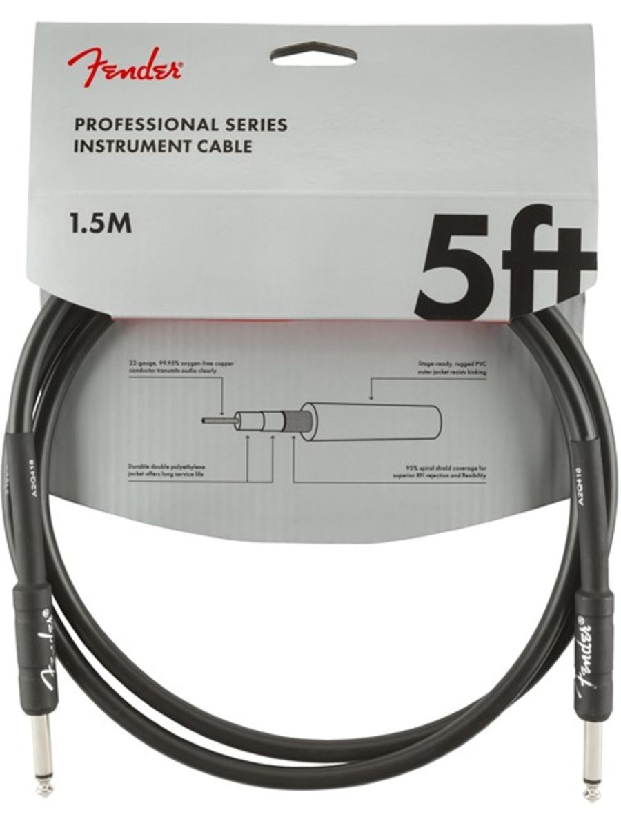 Fender Professional Instrument Patch Cable, 1.5m/5ft, Black