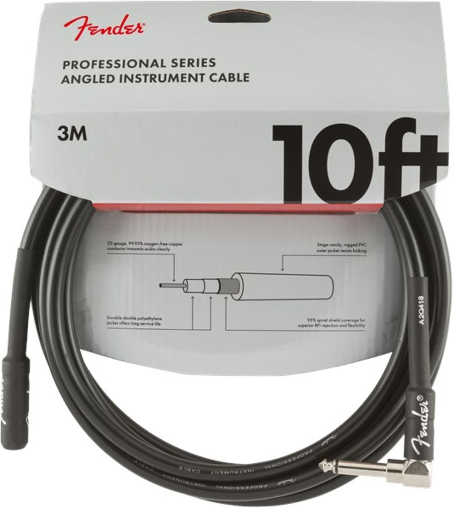 Fender Professional Instrument Cable, Angled/Straight, 3m/10ft, Black