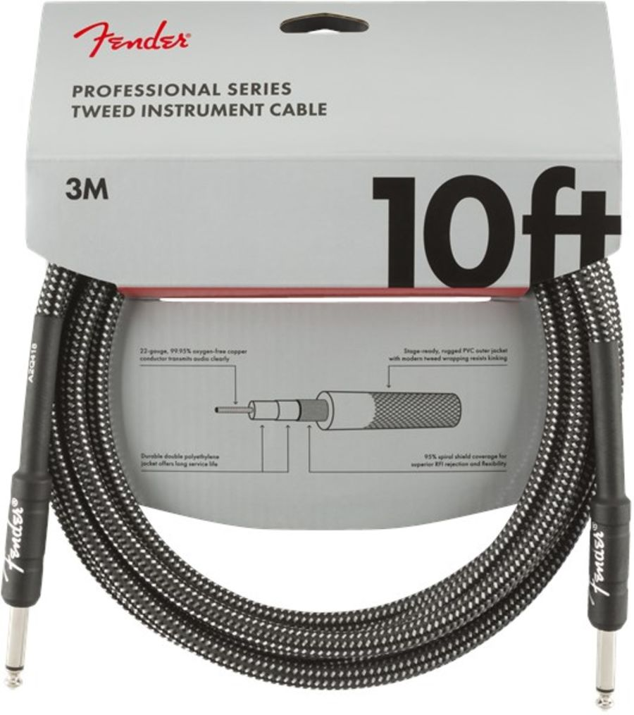 Fender Professional Series Instrument Cable 10 Foot Gray Tweed