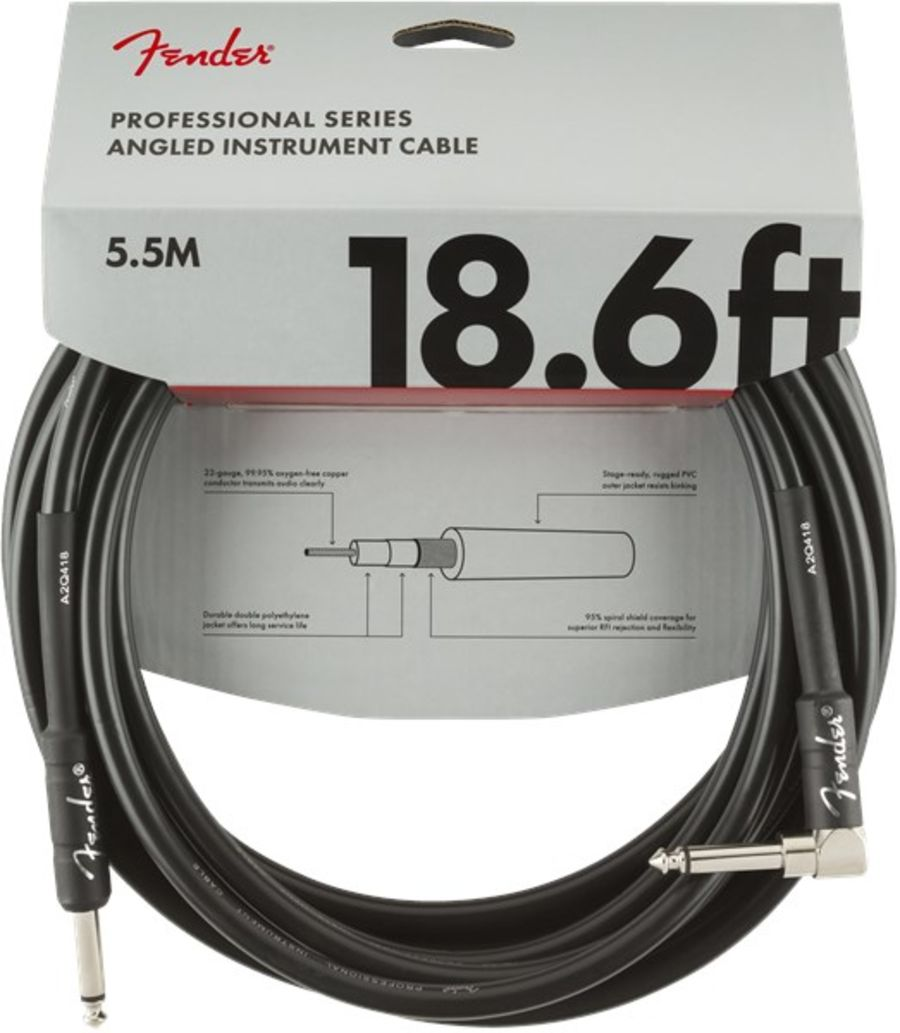 Fender Professional Instrument Cable, Angled/Straight, 5.7m/18.6ft, Black