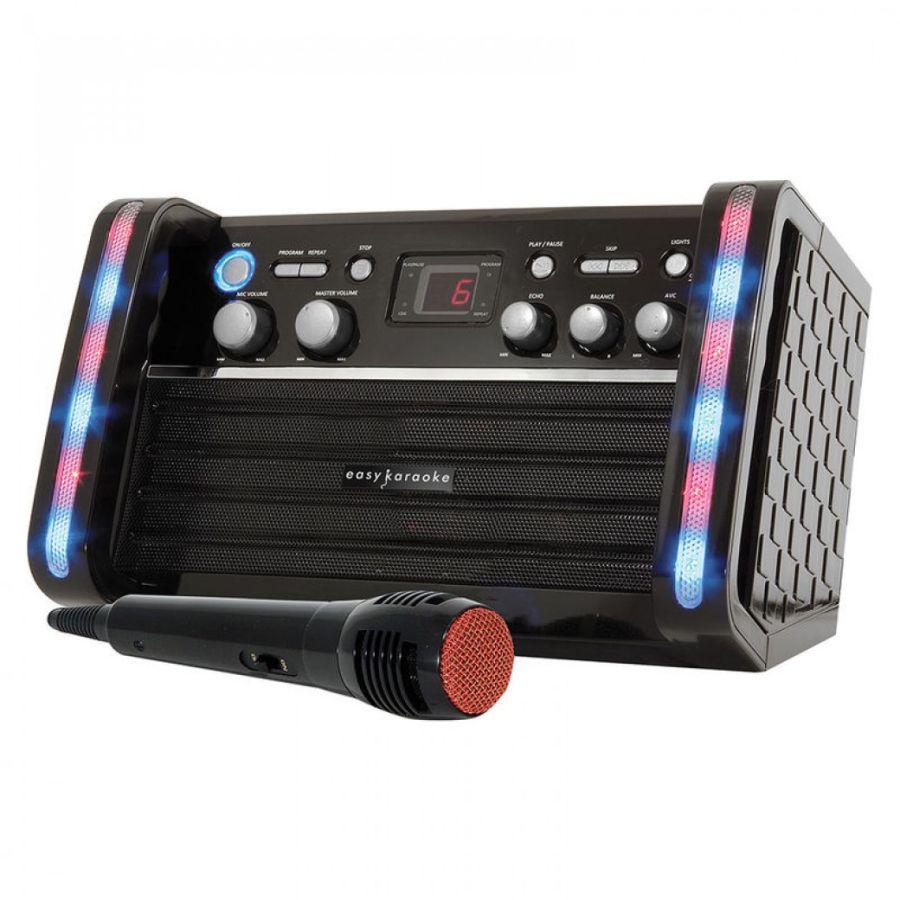 Easy Karaoke EKS212 CD Graphics Karaoke Machine LED Lights Party Duets Mic CD-G
