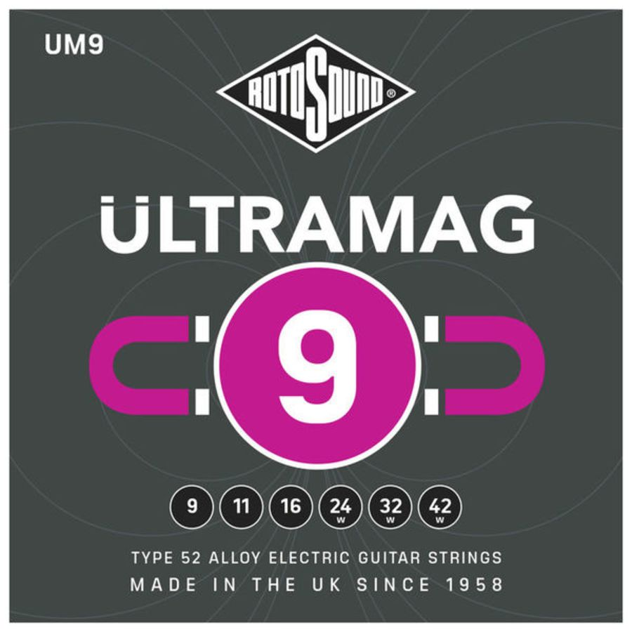 Rotosound Ultramag UM9 Electric Guitar Strings 09-42 - Long String Life