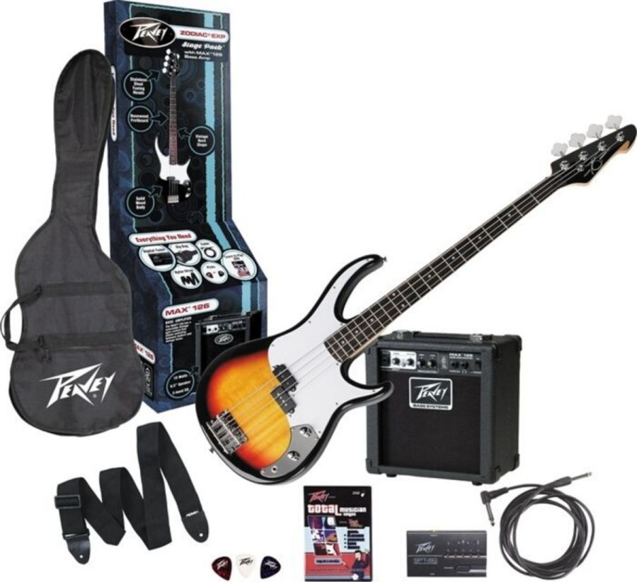 Peavey Zodiac EX Sunburst Electric Bass Guitar Stage Pack