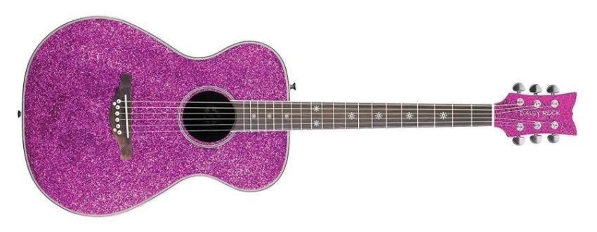 Daisy Rock DR6205 Pixie Acoustic Guitar, Pink Sparkle