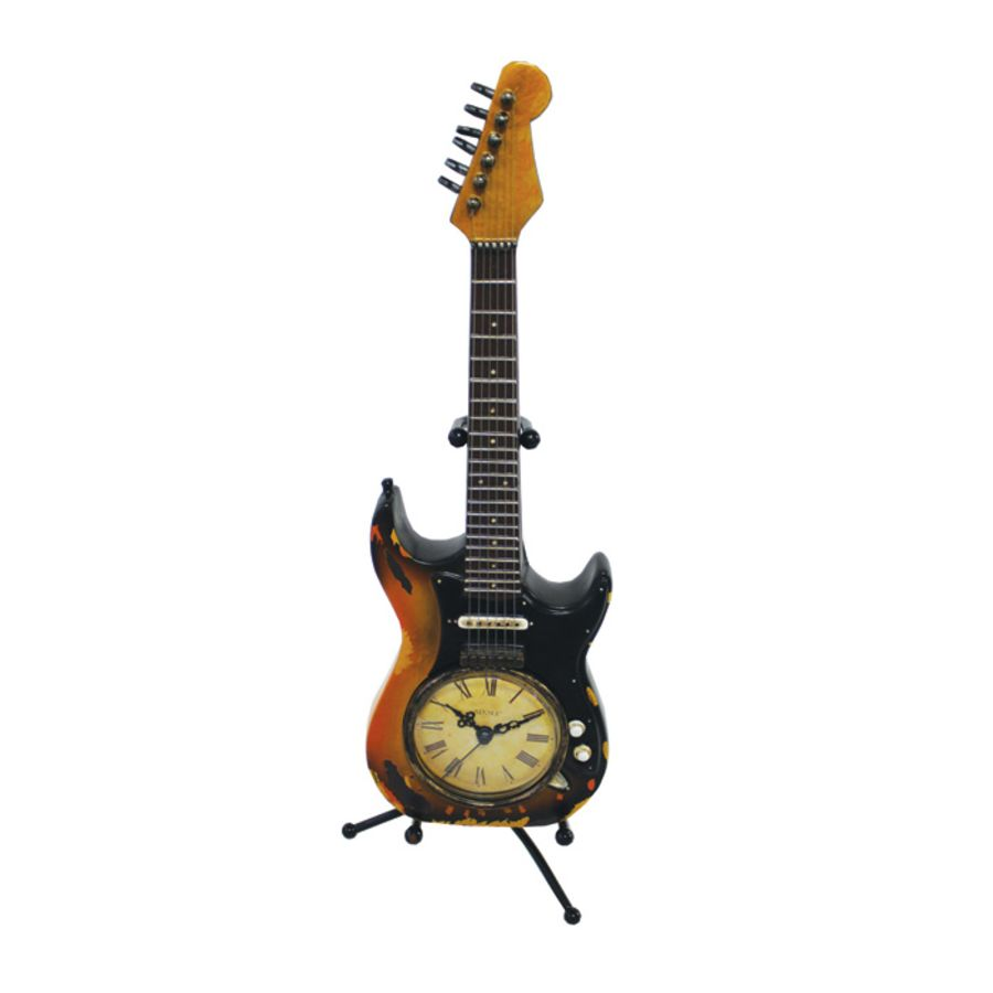 Clock Iconic Guitar Sunburst On Stand