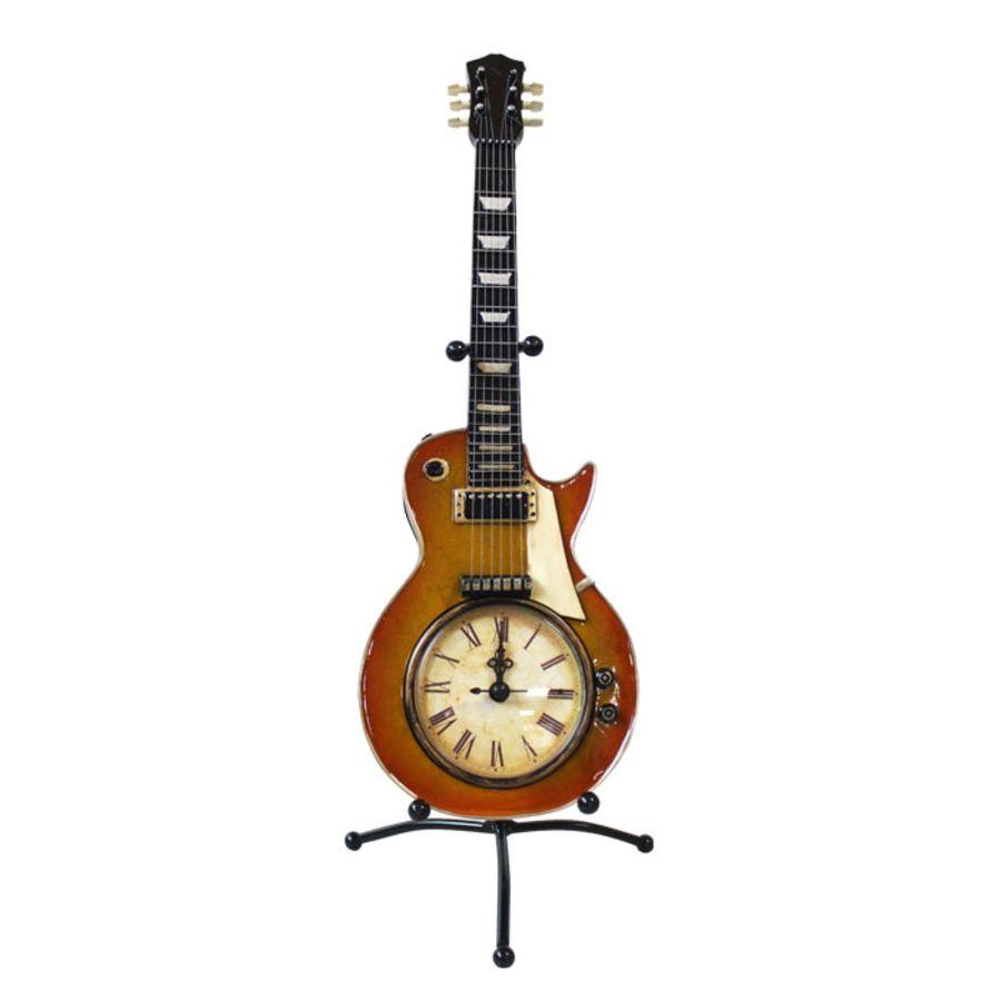 Clock Vintage Sunburst Guitar On Stand