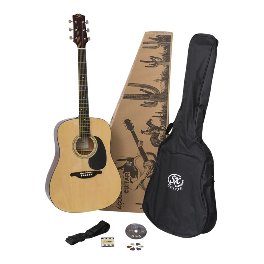 SX Acoustic Guitar Starter Package - Natural