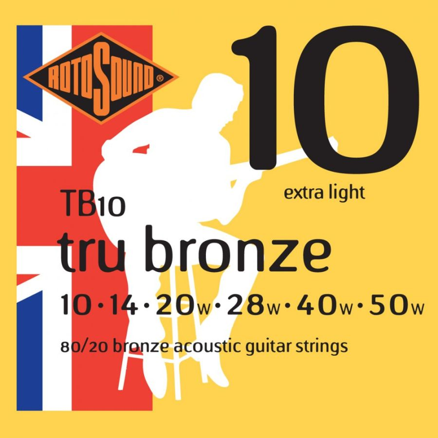 Rotosound TB10 TRU Bronze 80/20 Bronze Acoustic Guitar Strings 10-50
