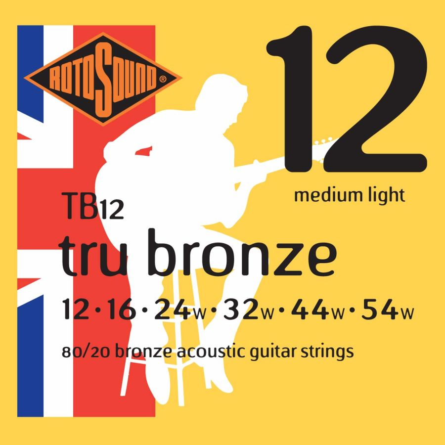 Rotosound TB12 TRU Bronze Acoustic Guitar Strings 12-54