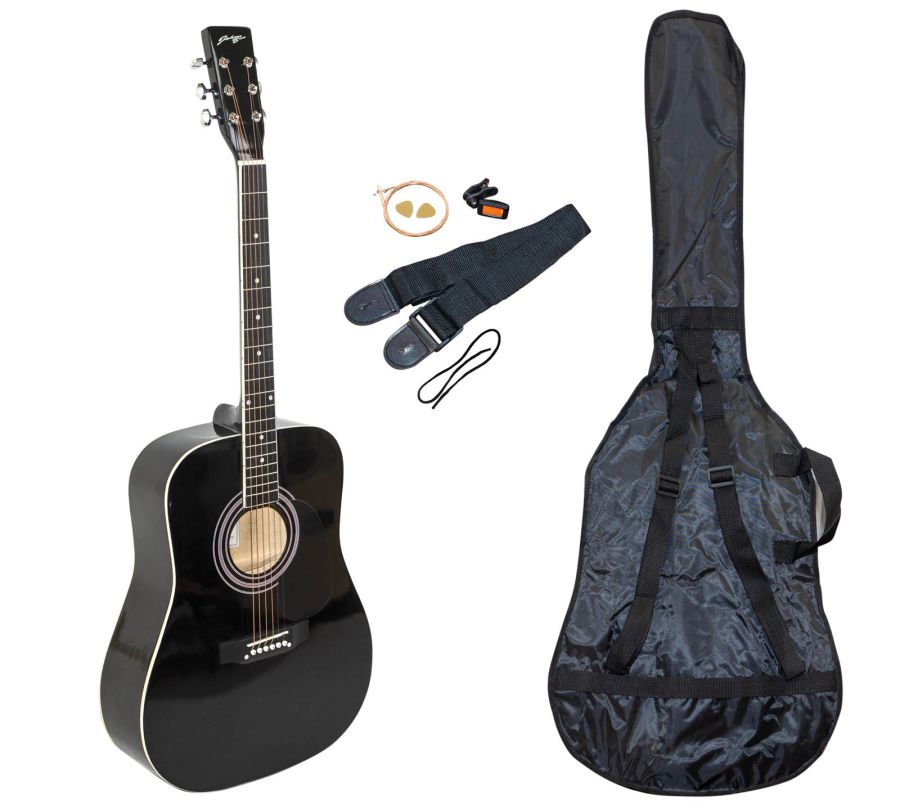 Johnny Brooks JB300A - Budget Dreadnought Acoustic Guitar Package - Black