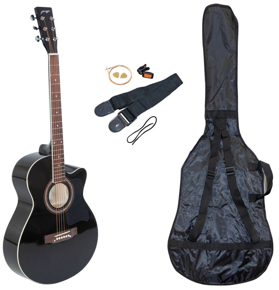 Johnny Brooks JB301A - Budget Cutaway-Acoustic Guitar Package - Black
