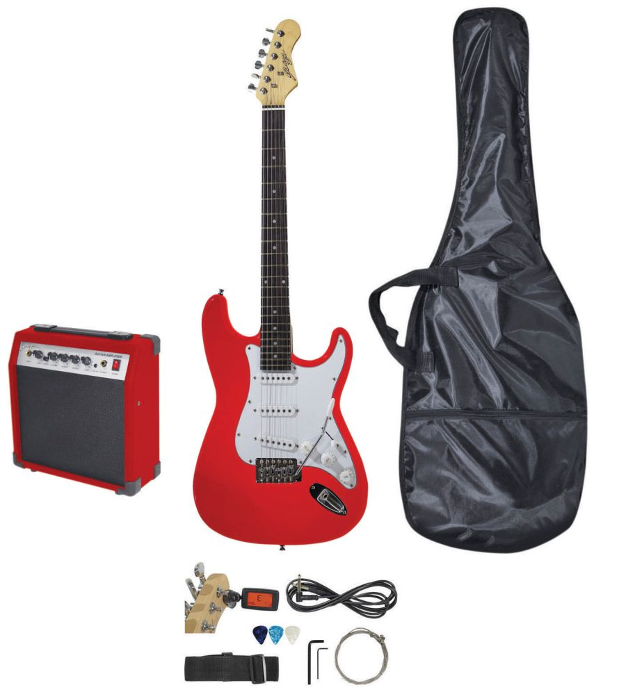 Johnny Brooks Budget Electric Guitar Package - Stratocaster - Red - JB404