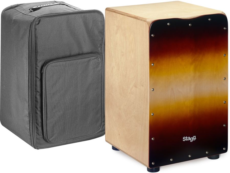 Stagg Standard-sized birch cajón with sunburst front board finish