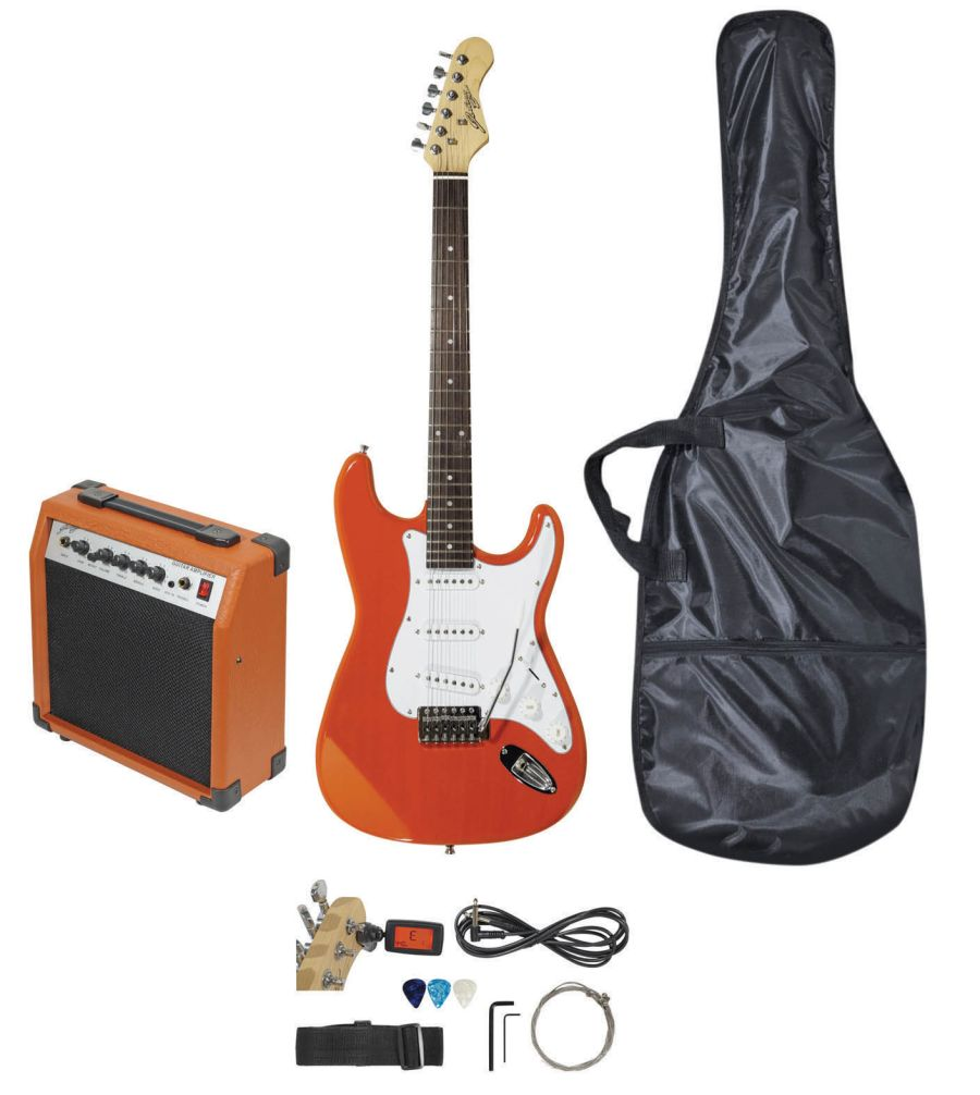 Johnny Brooks Budget Electric Guitar Package - Stratocaster - Orange JB407