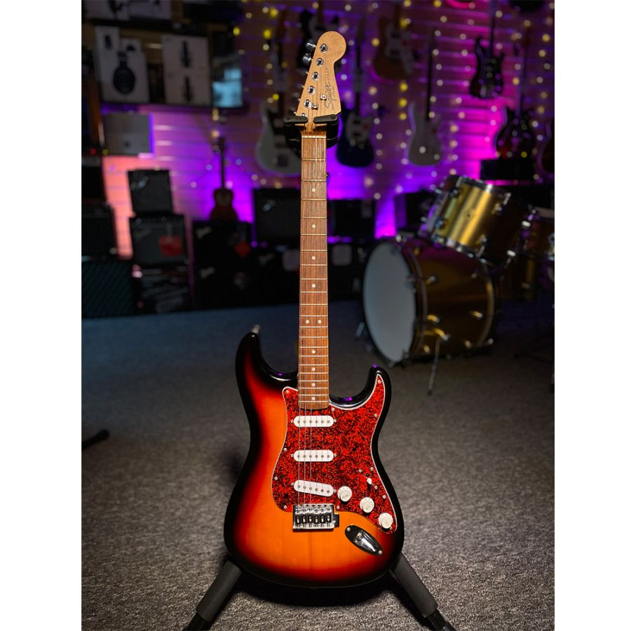 SOLD - 90's Squier Stratocaster Tobacco Sunburst with Tortoiseshell Scratch plate