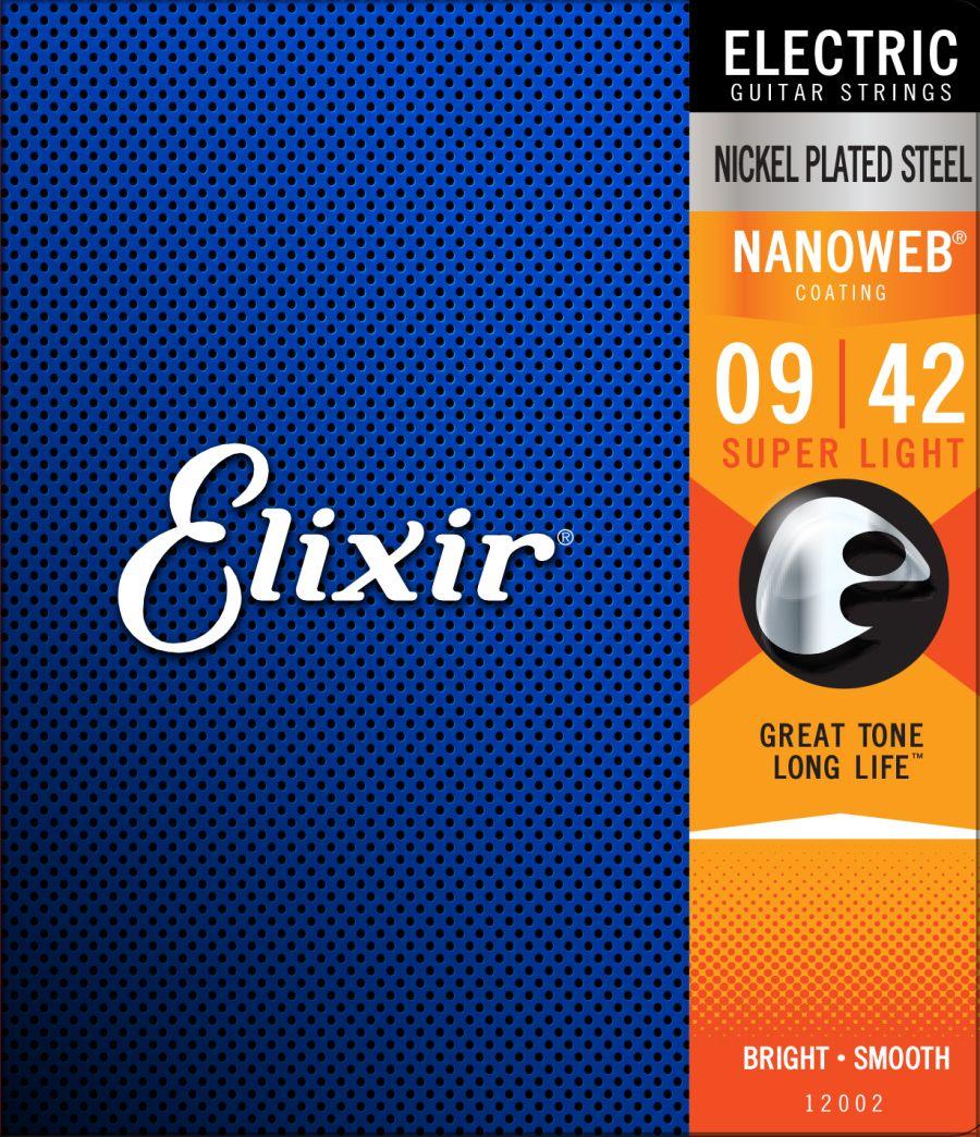 Elixir Nanoweb Super Light 9-42 - Coated Nickel Wound Electric Guitar Strings