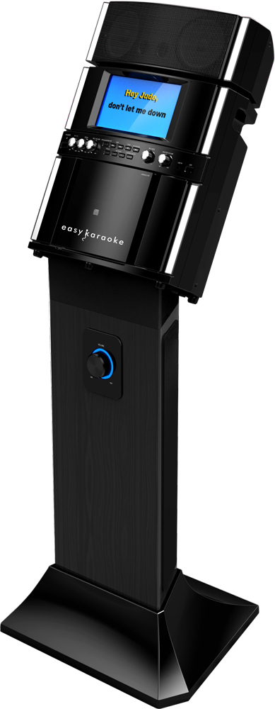 Easy Karaoke EKS808BK Professional Karaoke System with Speaker Pedestal &100 track disc