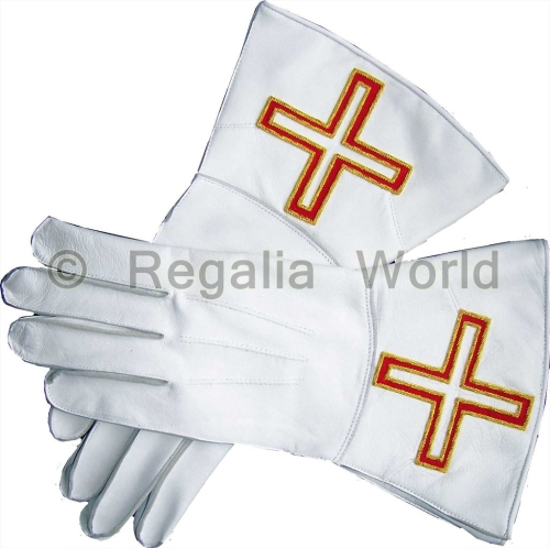 St Thomas of Acon White Kid Leather Gauntlets